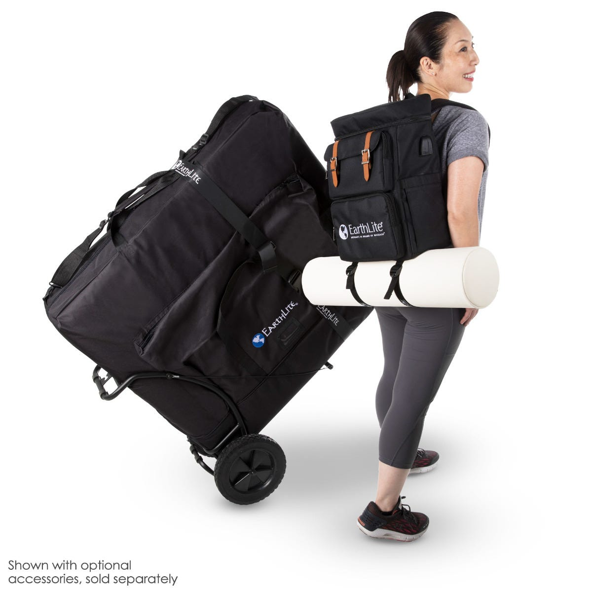 massage table with traveler cart and LMT go-pack